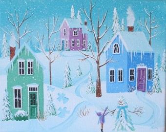 Winter Snow Scene~White Frosting Folk Art Print