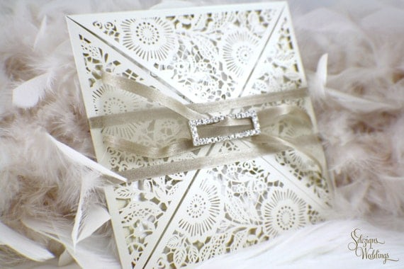 Elegant Wedding Invites Coupon: Laser Cut Elegant Wedding Invitation Suite Broach Buckle