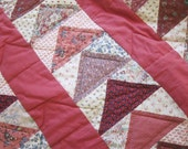 Hand made quilt, Flying Geese, wall hanging, lap quilt, 1970-80