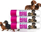 Dachshund NOSE BUTTER® All Natural Balm for Dry Dog Noses Three .15 oz Tubes with Three Doxies Wire, Smooth and Longhair on Label gift bag