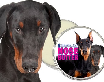 Doberman Pinscher ORIGINAL NOSE BUTTER® Handcrafted Moisturizing Balm for Dry or Crusty Dog Noses Choice: 1, 2 or 4 oz. Tin with Dobie Label