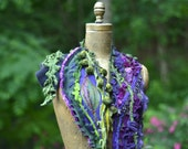 Cashmere patchwork green purple SCARF Wrap. Bohemian eco- couture accessory