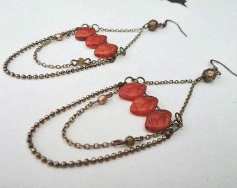Chandelier Earrings Boho Pumpkin Spice Leaves Dangle Glass Beaded  - Fall Leaves