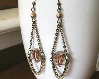 Chandelier Earrings Boho Chic Glass Beaded  - Crystal Leaves.