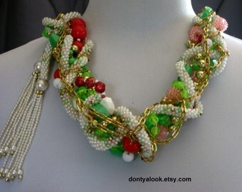 Pink Lime Green and White Beaded Necklace