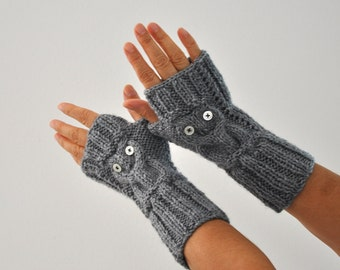 Owl Gloves Fingerless Gloves Winter Arm Warmers Gray Hand Knit Winter Accessories Winter Fashion