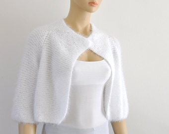 White Bridal Bolero, Shrug Bolero, Wedding Jacket, Bridal Cover Up, Soft Elegant Hand Knit