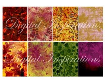 Colorful Autumn Digital Backgrounds Downloadable Collage Sheet ATC ACEO Scrapbooking Tags Cards Mixed Media