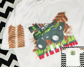 Monster Truck Birthday Shirt. Kids Custom Personalized Monster Truck Birthday Party Tee. Monster Truck Dirt Tshirt. Boys Birthday Shirt