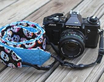 Monogramming Included Extra Long Camera Strap for DSL Camera Sugar Skull Print