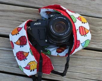 Ready To Ship Extra Long Camera Strap for DSL Camera Hedgehog Fabric With Red Reverse No Monogram