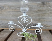 Vintage Wedding Decoration  Ornate Candelabra in distressed White Charming & Elegant Paris Apartment Decor