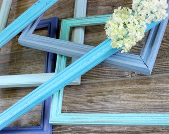Colors of the Sea Distressed Rustic Open Frame Collection of 5 for Beach House and Nautical Inspired Rooms , Coastal Home Decor
