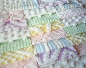 Vintage Chenille Bedspread Squares-Pretty Mixed Set-SWEET