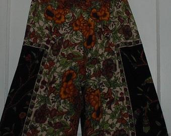 "Hippie Pants-Adult Black Green Tree of Life -Length 42"" Hips 48""cotton Gauze, Festival,Gypsy ,Boho,Palazzo"