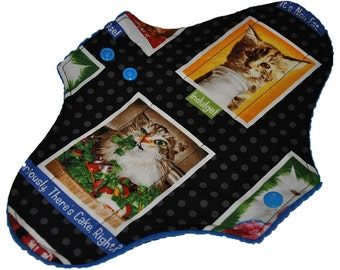 Moderate Hemp Core- Cat Portraits Reusable Cloth Maxi Pad- WindPro Fleece- 10 Inches (25.5 cm)