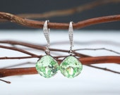 Bridesmaid Jewelry Light Green Chrysolite Crystal Earrings