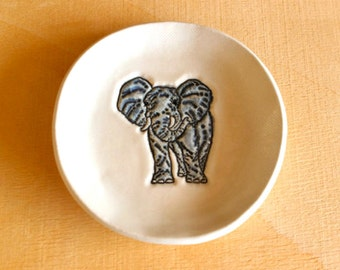 Ceramic ELEPHANT Dish - Handmade Round Porcelain Elephant Pachyderm Jewelry Dish / Tea Bag Holder - Ready To Ship