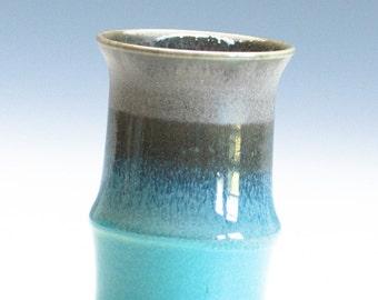 Aqua Green Dark Brown  Vase / Ceramic Vessel