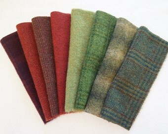Primitive Red - Green Hand Dyed Felted Wool in a Beautiful Collection a Perfect Rug Hooking, Quilting, and Applique Wool by Quilting Acres