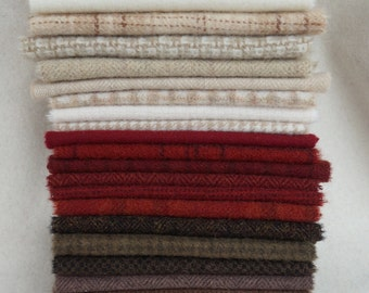 Red - Natural - Cream - Brown - Hand Dyed and Felted Wool Fabric Perfect for Rug Hooking - Applique - Quilting - Sewing by quiltingacres