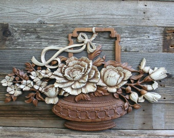 Large Basket of Flowers in White and Brown Syroco / Homco Wall Hanging / Decor