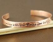 Copper Cuff Bracelet, Dance with your Heart and your Feet Will Follow, Personalized Bracelets, Dance Bracelet, Custom Bangle Bracelets