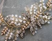 Gold Boho Headpiece, Antique Gold Opal Flower Hair Accessory, Hair Vine Hair Wreath Hair Vine, Wedding Headband - 'ZOYA'