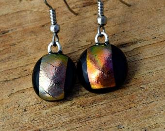 Sunset Earrings, Dichroic Glass Earrings, Fused Glass Jewelry, Rainbow Earrings, Dangle Drop Earrings