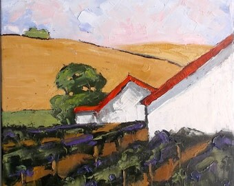 Impressionist Painting CALIFORNIA Plein Air Landscape Santa Cruz Hills VINEYARD BARNS Farm Lynne French 12x16