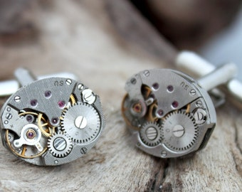 Men's Steampunk watch movement cuff links- polished matching pair- Gift for him cufflinks