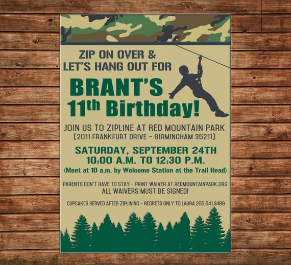 Boy Camo Zip Lining Zip Line Zipline Mountains Forest Hiking Outdoors Birthday Party Invitation - DIGITAL FILE