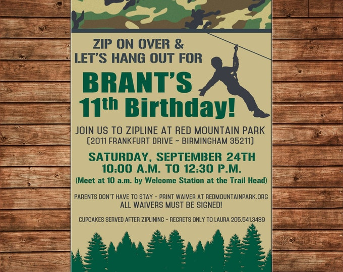 Boy Invitation Zipline Zipling Camo Outdoors Birthday Party - Can personalize colors /wording - Printable File or Printed Cards