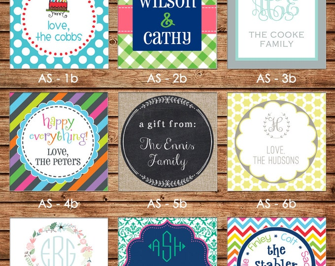 NEW DESIGNS! 24 Square Personalized All Occasion / Family / Mommy / Sibling / Adult Enclosure Cards or Gift Stickers - Choose One Design