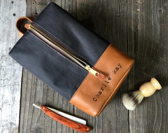 Hanging Dopp Kit - Leather Toiletry Bag - Groom Gift - Black / Tan