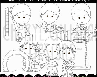 Linus and Pals at the Park Digital Stamps - Immediate Download