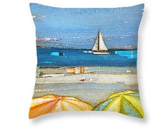Umbrellas and Sailboat at the beach throw ART PILLOW, home decor pillow, housewares, summer gift, christmas gift, mixed media collage