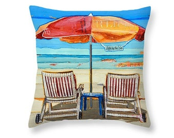 Umbrella & Chairs at Beach throw ART PILLOW, Portland Maine, home decor pillow, summer gift for her, Christmas gift, coastal decor gift