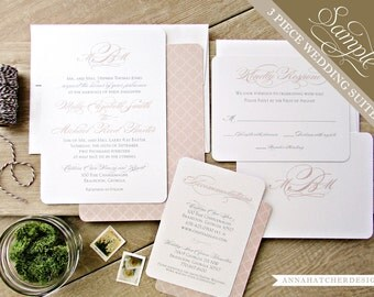 SAMPLE: Simply Classic 3 Piece Wedding Suite / Invitation, Reply Card, Enclosure Card / Paper Pack / Color Chart - FREE Shipping