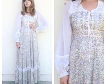 Vintage 70s Gunne Sax Floral Prairie Maxi Dress