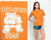 ON SALE Graphic Tee Shirt Vintage YEAR Of The Boar Pig Chinese Astrology 80s Burnout Tshirt Paper Thin Orange Retro T Shirt 1980s Print Smal