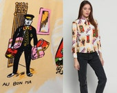 70s Disco Shirt FRENCH Novelty Print Blouse Paris Shopping 1970s Hippie Boho Long Sleeve Vintage Button Up Top Collared Medium