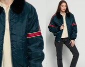 Puffer Coat Retro Ski Jacket FAUX FUR COLLAR 80s Puffy Quilted Striped Navy Blue 70s Hipster Indie 1970s Vintage Puff Winter Red Large