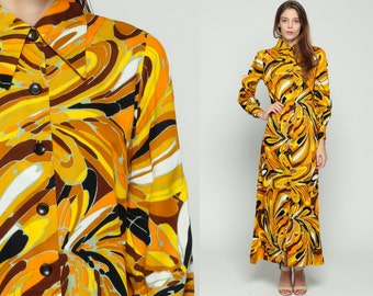 70s Maxi Dress SWIRL Print Psychedelic Button Up 1970s Hippie Boho High Collar Vintage Yellow Seventies Long Sleeve Bohemian Medium Large