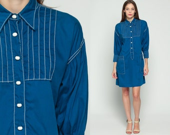 Shirtdress 70s Shift Dress Mod Button Up Mini COLLARED Bib Dark Blue Plain 1970s Long Sleeve Vintage Twiggy Shirt Dress White Extra Large xl