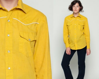 Western Shirt 70s PEARL SNAP Hipster Top 1970s Vintage Button Up Yellow Yoke Long Sleeve Blouse Rockabilly Pocket Thin Cotton Small Medium