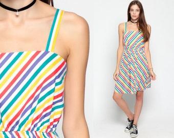 Rainbow Stripe Dress 70s Mini Hippie Striped 1970s Sundress Spaghetti Strap Boho Sun High Waist Festival Pocket Summer Small