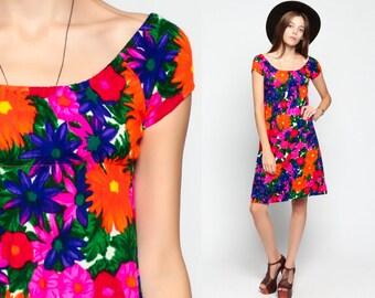60s Babydoll Dress Hawaiian 70s Mod Mini Empire Waist Floral Psychedelic Print Neon 1970s Vintage Peasant Cap Sleeve Small xs