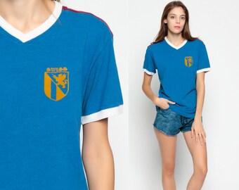 Ringer Tee SWITZERLAND Shirt Crest Graphic Shirt Travel Tshirt 90s Vintage V Neck Striped Retro Swiss Royal Blue T Shirt Small
