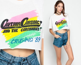 Crop Top CAPTAIN CARDIAC TShirt And The Coronaries Band Tee 1989 Concert Shirt Tour T Shirt 80s Graphic Vintage Rock T Shirt Small Medium xs